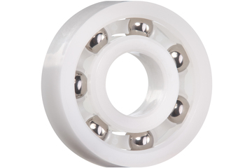 xiros® radial deep groove ball bearing, xirodur B180, stainless steel balls, cage made of xirodur B180, mm